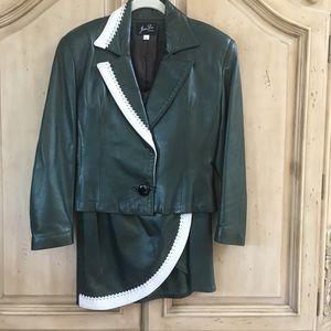 Jen Lu Designer Green/White Soft Leather Suit (4P)